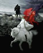 Три всадника на трех конях: белом, черном и рыжем.